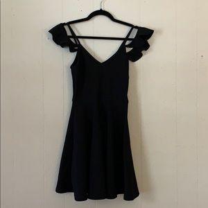 Black off shoulder above the knee dress